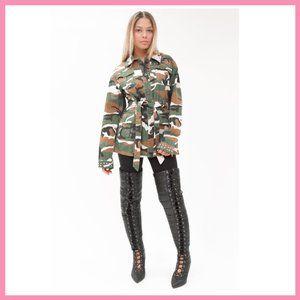 NWT Studded Belted Camouflage Jacket  Camo